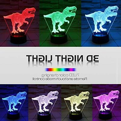 Dinosaur Toys, T 3D Night Light Colors Changing Lights for Kids with