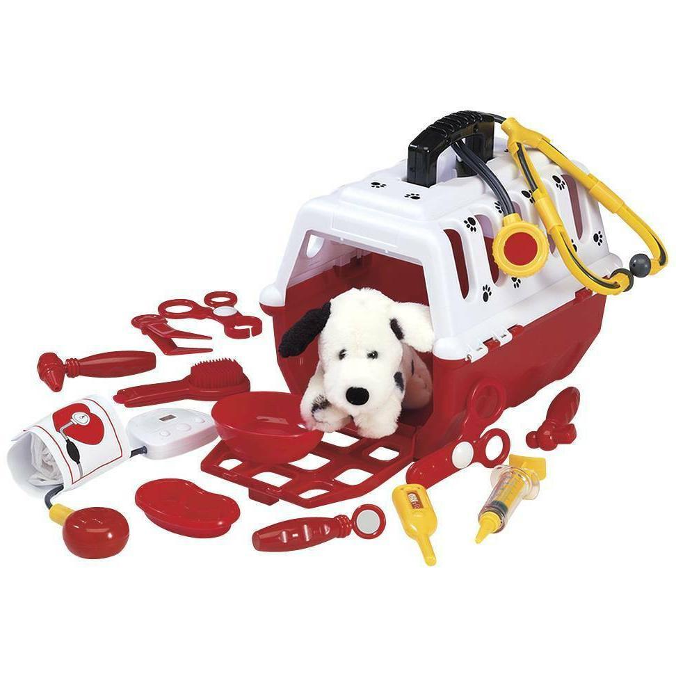 kids 15 piece toy dalmatian vet kit