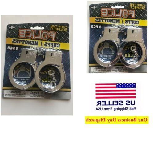 kids toy plastic stanley steel hand cuffs