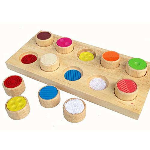 kids wooden touch and match sensory board