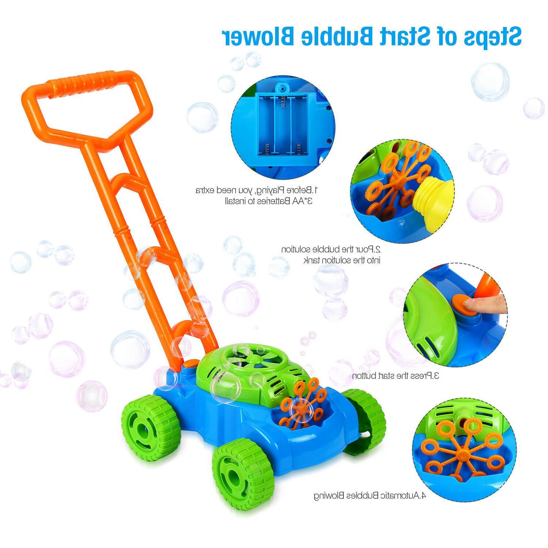 Bubble Mower Kids Blower Machine 3 Bottle