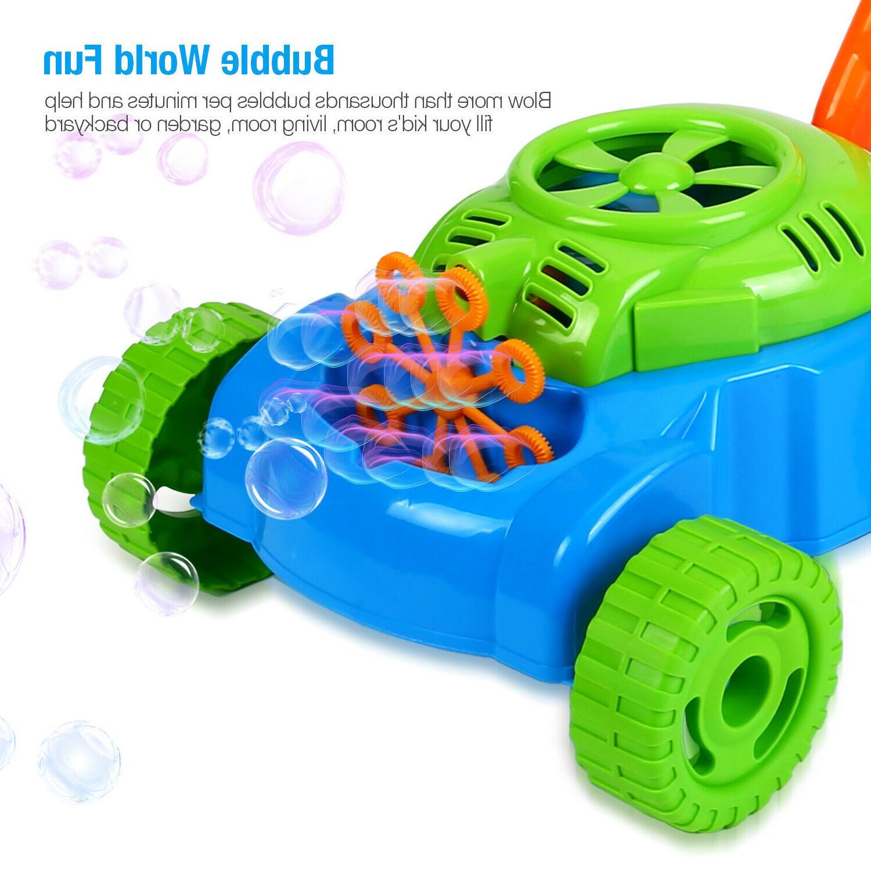 Bubble Mower Toddlers Kids Lawn Blower Machine Toy 3 Bottle