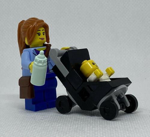 NEW Mom and with Stroller Figure
