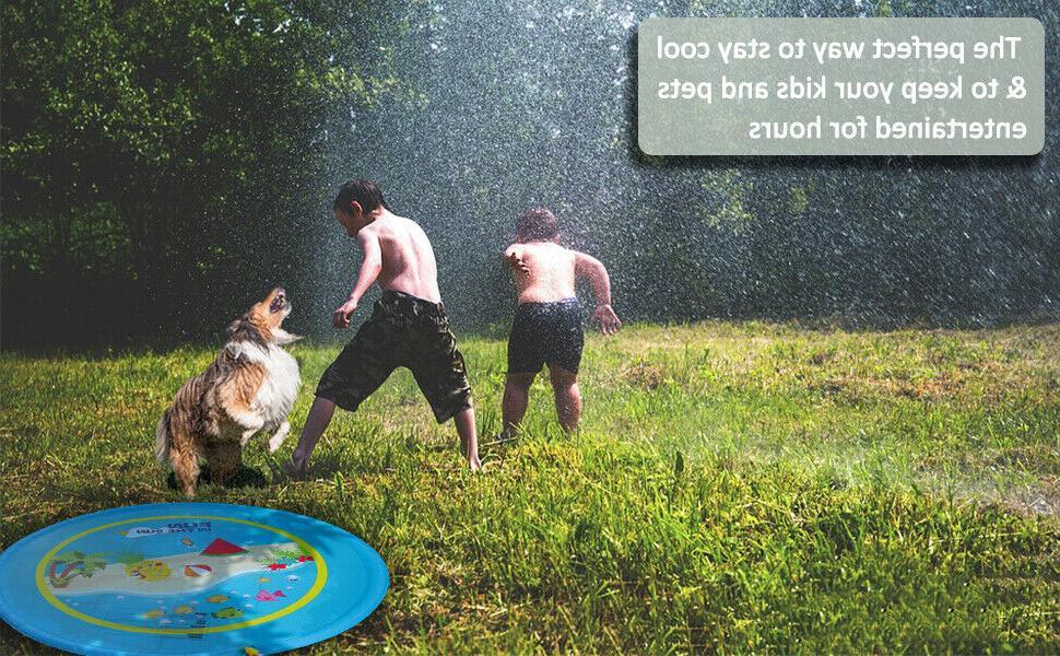 "Sprinkler for Kids Splash Mat Outdoor Lawn Water Pool 59"" 67"""