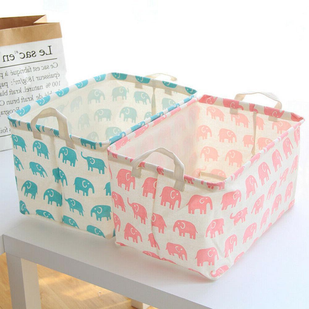 Toy Storage Basket and Box Organizer with Pink Elephant Prin