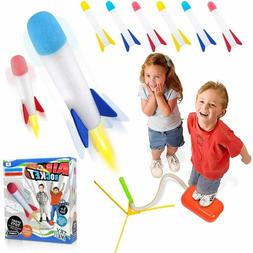 Led Light Toy Rocket Launcher With 6 Colorful Foam-tipped Ro