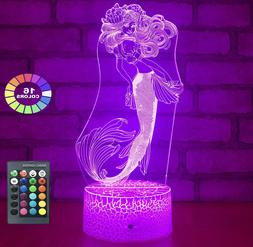 Mermaid Toys 3D Night Light with 16 Colors Changing Kids Gir