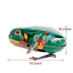Metal Wind-up Jumping Frog Clockwork Tin Toys Children Funny