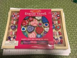 NEW Melissa and Doug Sweet Hearts WOODEN BEAD Craft Set NIB