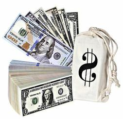 Playing Money Double Sided Dollars Paper Sack Pretend Wallet