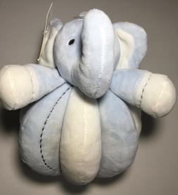 Plush Blue White Elephant Animal Rattle Manhattan Kids Baby