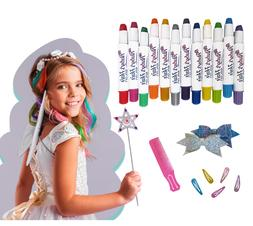 Ruby's Hair Chalk Salon For Girls Age 4+ 12 Vibrant Colors W