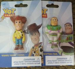 Set of 2 Erasers 1 Buzz Lightyear And 1 Woody Toy Story 4 Ne