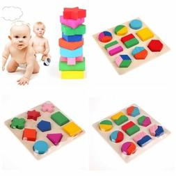 Shape Wood Puzzle Jigsaw Early Learning Baby Kids Educationa