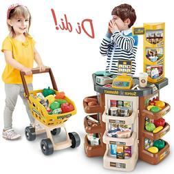 Supermarket Grocery W/Shopping Cart Scanner Store Playset Ki