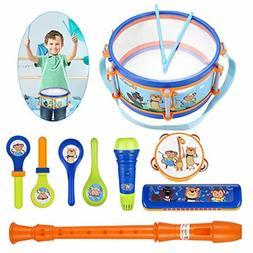 iBaseToy Toddler Musical Instruments Toys, Kids Drum Set, Pe