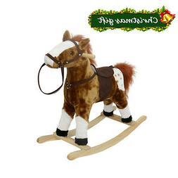 Baby Kids Toy Plush Wooden Rocking Horse Boy Riding Rocker w