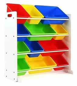 Toy Storage Racks Chests 4 Tier Children Toys Organizer 12 P