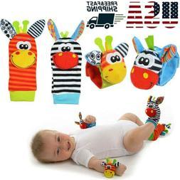 US Baby Kids Newborn Animal Hand Wrist Bells Foot Sock Rattl