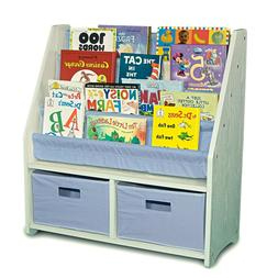 White and Blue Bookshelf Bookcase Kids Children Toy Bedroom