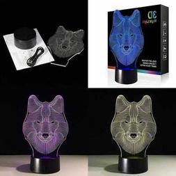 Wolf Night Lights For Kids 3D Lamp Children Toys Boys 7 LED