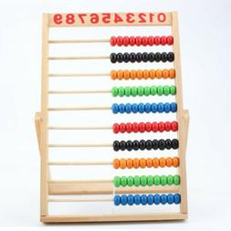 Wooden Abacus 10-row Colorful Beads Counting Kids Maths Educ