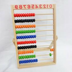 Wooden Beads Abacus Rainbow Colour Kids Preschool Math Learn