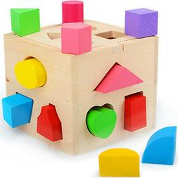Wooden Block Sorter Box Baby Toddler Preschool Kids Color Sh