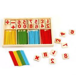 Wooden Math Manipulative Counting Block Sticks Kids Educatio