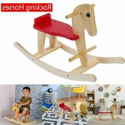 Wooden Rocking Horse Baby Wood Ride On Rocker Toy Animal Rid