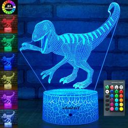 YeeSeeJee Dinosaur Toys Night Lights for Kids with 16 Colors